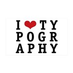 I Heart Typography 38.5 x 24.5 Wall Peel