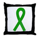 Green Ribbon Throw Pillow