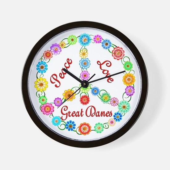 Peace Love Great Danes Wall Clock