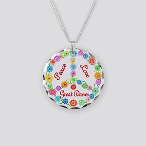 Peace Love Great Danes Necklace Circle Charm