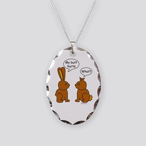 Funny Chocolate Bunnies Necklace Oval Charm