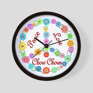 Peace Love Chow Chows Wall Clock
