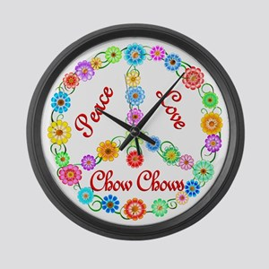 Peace Love Chow Chows Large Wall Clock