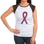 Burgundy Ribbon Women's Cap Sleeve T-Shirt