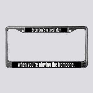 Playing Trombone License Plate Frame
