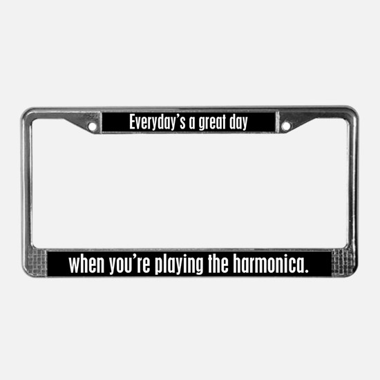 Playing Harmonica License Plate Frame