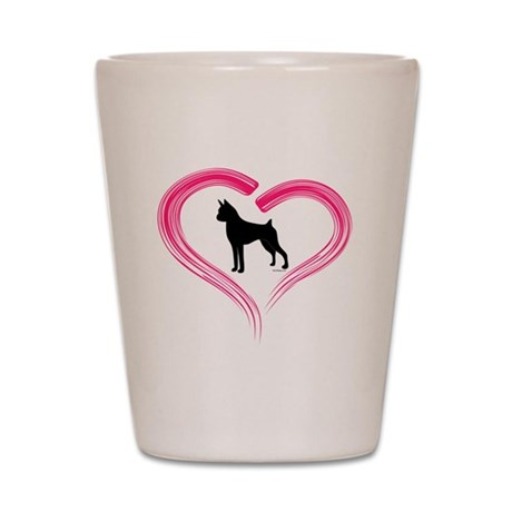 Boxer in Pink Heart Shot Glass