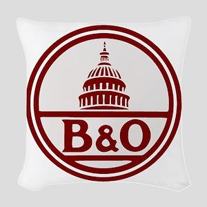 B&O railroad design Woven Throw Pillow