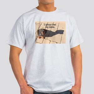 Big Inside Dachshund Dog Ash Grey T-Shirt