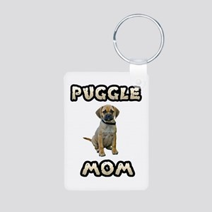Puggle Mom Aluminum Photo Keychain