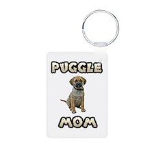 Puggle Mom Aluminum Photo Keychain