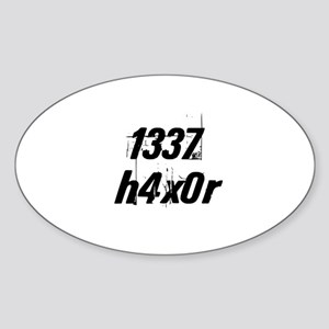 1337 h4x0r Oval Sticker
