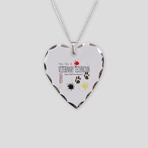 Yes I'm A Veterinary Technician Necklace Heart Cha