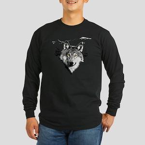 Grey Wolf Love Long Sleeve Dark T-Shirt