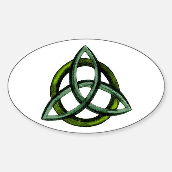 Triquetra Green Sticker (Oval)