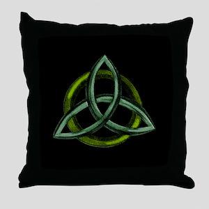 Triquetra Green Throw Pillow