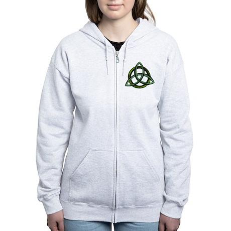 Triquetra Green Women's Zip Hoodie