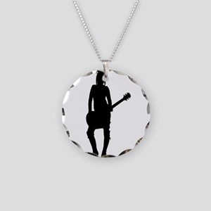 Girl Rock Star Necklace Circle Charm