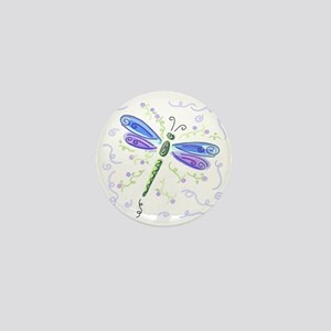 Whimsical Blue Dragonfly Mini Button