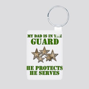 National Guard Dad Aluminum Photo Keychain