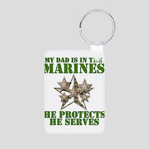 Marine Dad Aluminum Photo Keychain