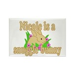 Nicole is a Snuggle Bunny Rectangle Magnet (100 pa