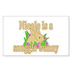 Nicole is a Snuggle Bunny Sticker (Rectangle 50 pk