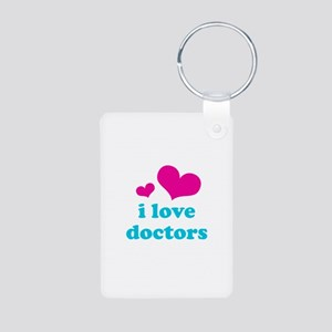 i love doctors (pink/blue) Aluminum Photo Keychain