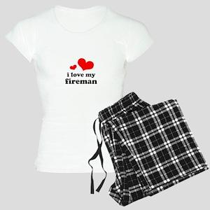 i love my fireman (red/black) Women's Light Pajama