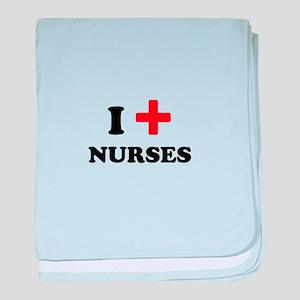 i heart nurses (red/black) baby blanket