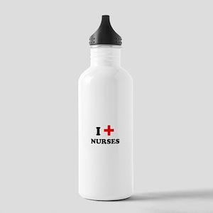 i heart nurses (red/black) Stainless Water Bottle