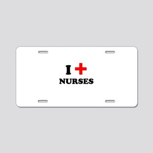 i heart nurses (red/black) Aluminum License Plate