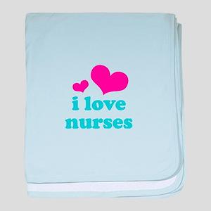 i love nurses (pink/blue) baby blanket