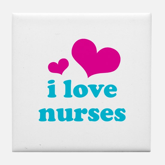 i love nurses (pink/blue) Tile Coaster