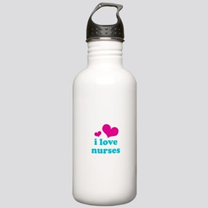 i love nurses (pink/blue) Stainless Water Bottle 1