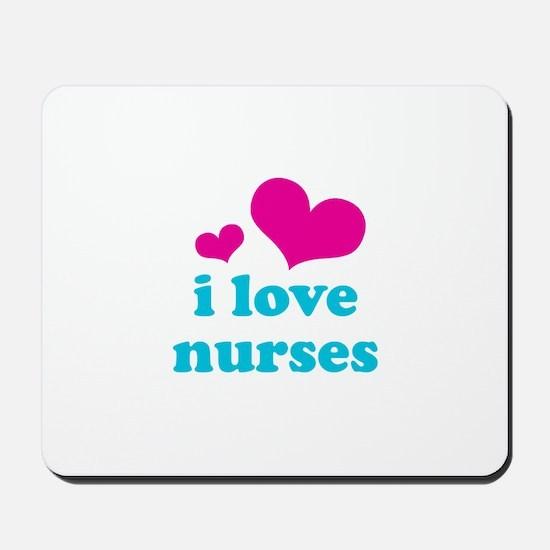 i love nurses (pink/blue) Mousepad