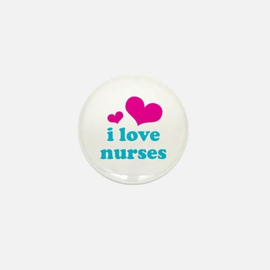 i love nurses (pink/blue) Mini Button