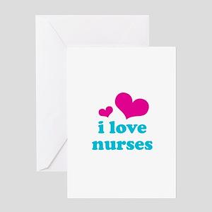 i love nurses (pink/blue) Greeting Card