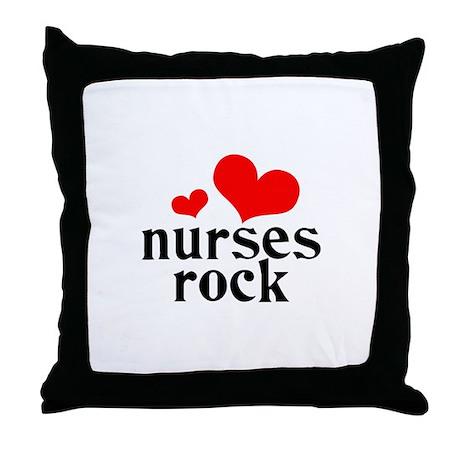 nurses rock (red/black) Throw Pillow