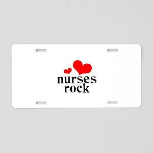 nurses rock (red/black) Aluminum License Plate
