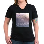 Love and Gratitude Women's V-Neck Dark T-Shirt