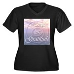 Love and Gratitude Women's Plus Size V-Neck Dark T