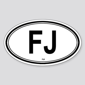 Fiji (FJ) euro Oval Sticker