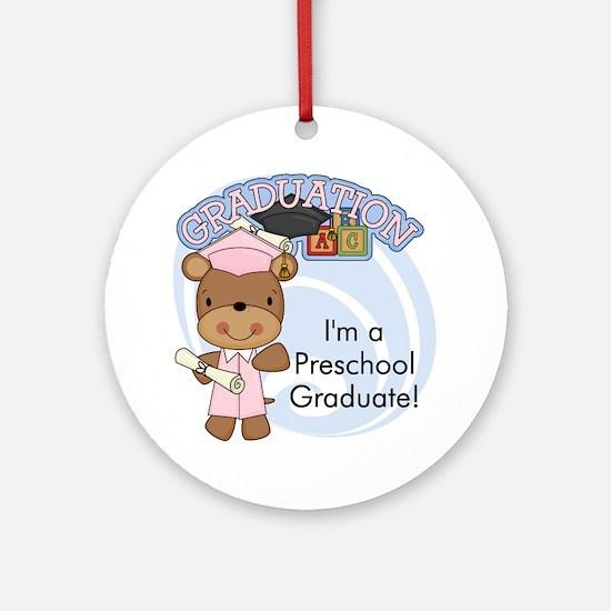 Girl Bear Preschool Grad Ornament (Round)