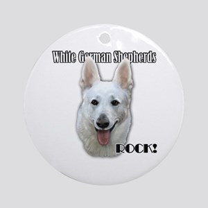 White German Shepherds Rock Ornament (Round)