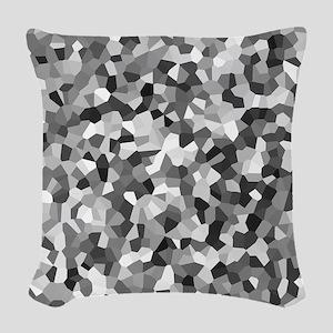 Grey Mosaic Pattern Woven Throw Pillow