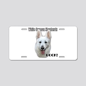 White German Shepherds Rock Aluminum License Plate