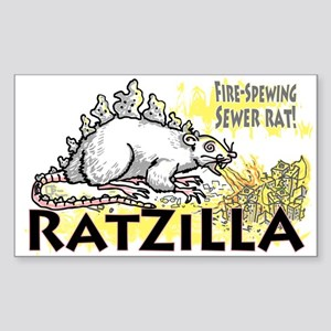 Ratzilla Fire-Spewing Rat Rectangle Sticker