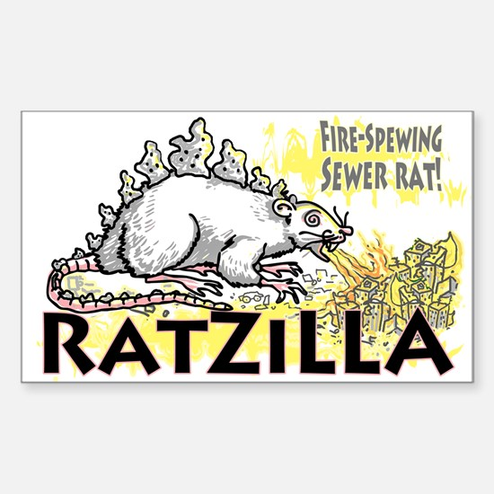 Ratzilla Fire-Spewing Rat Rectangle Decal