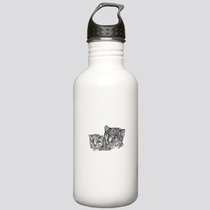 snow leopard mom and cub Stainless Water Bottle 1.